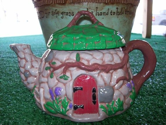 Ceramic Tea Pot Toad House for your Gnome Garden Ornament