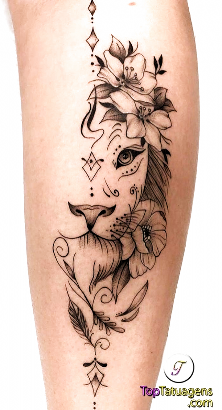 Back Of Leg Tattoo Small Lion Tattoo Half Lion Head Surrounded By Flowers White Background Tattoo Leg Tattoos Small Leg Tattoos Small Lion Tattoo