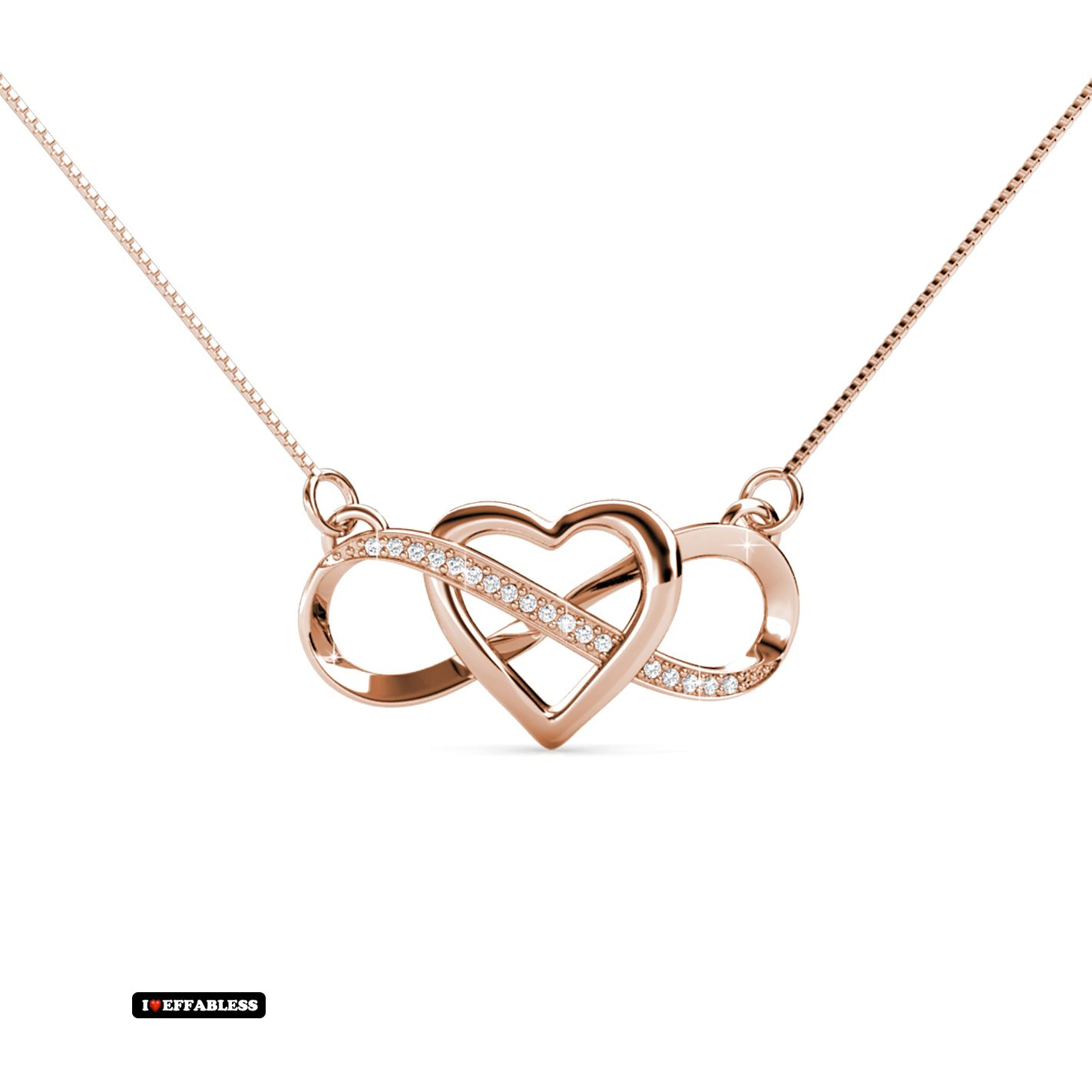 2daf11229b5810 INFINITY HEART NECKLACE 18K Rose Gold Plated
