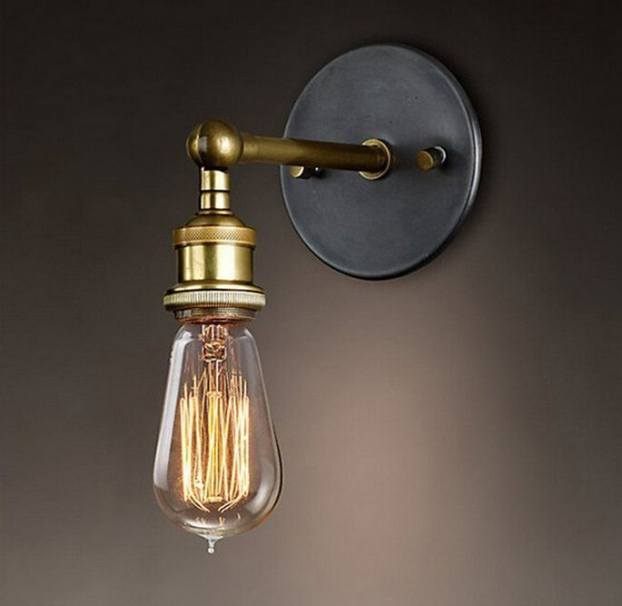 Brass Wall Light Sconce Edison Vintage Lamp Industrial Retro
