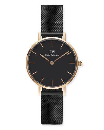 Daniel Wellington 28mm Classic Petite Ashfield Bracelet Watch, Black/Rose-Golden