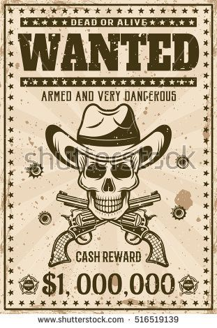 Wanted vintage western poster template with cowboy skull in hat - free wanted poster template