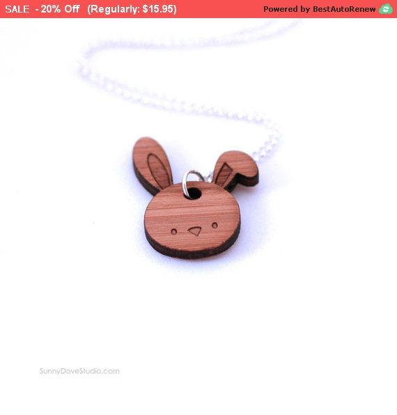 Easter bunny pendant gift for teen girl her cute bamboo laser cut easter negle Images