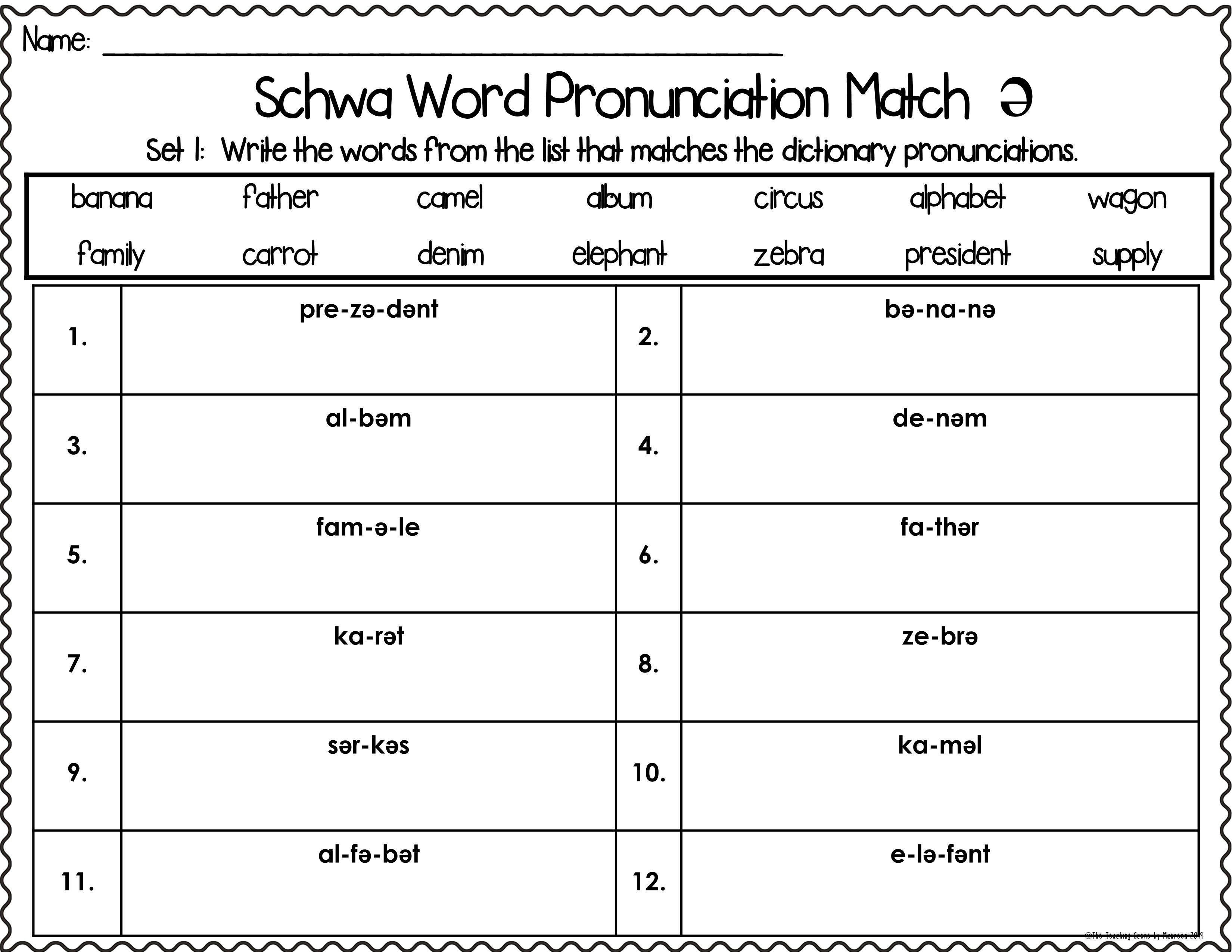 Schwa Sound Centers Activities Worksheets In 2021 Word Sorts Tricky Words Schwa [ 2550 x 3300 Pixel ]