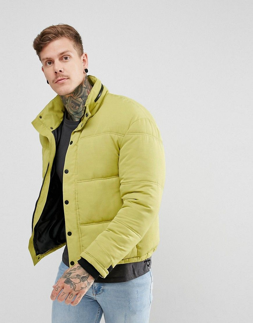 f7e2961b2 New Look Cropped Puffer Jacket With Concealed Hood In Lime Green ...