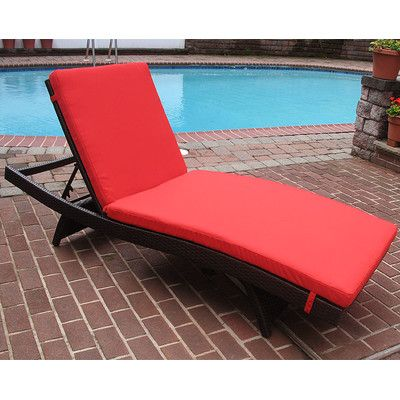 Siesta Chaise Lounge with Cushion Finish: Black, Fabric: Red - http://delanico.com/chaise-lounges/siesta-chaise-lounge-with-cushion-finish-black-fabric-red-657138751/