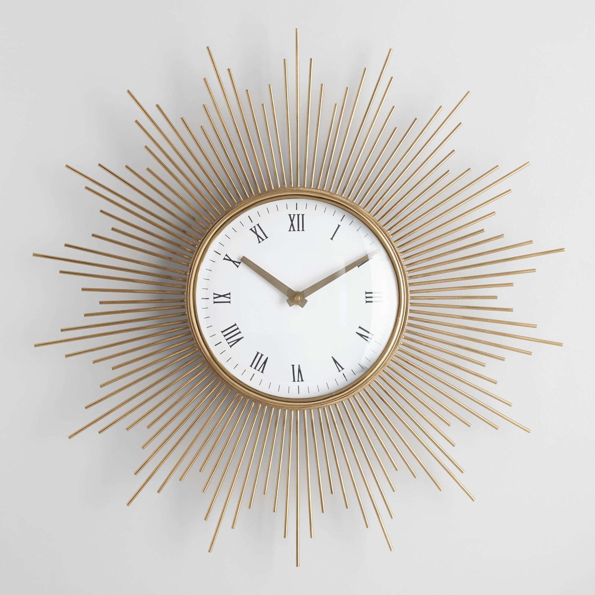Round Mid Century Spoke Wall Clock By World Market Wanduhr Wanduhr Dekoration Silberne Wanduhr