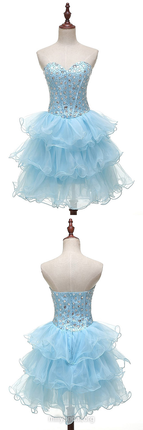 Promotion Blue Prom Dresses,A-line Sweetheart Short Homecoming Dresses,Tulle Short/Mini Cocktail Dress,Beading Evening Party Gowns