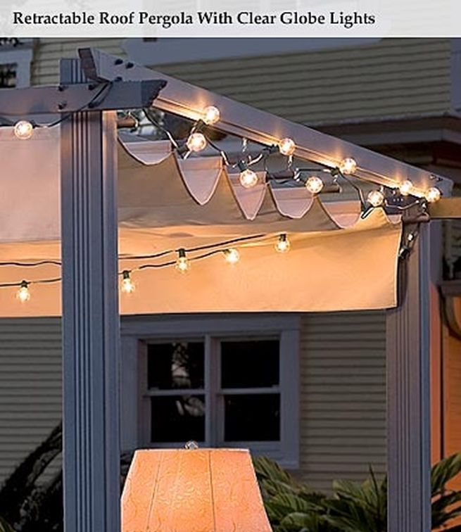Elegant Retractable Roof Pergola With Clear Globe Lights   Neat Idea!
