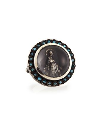 Modern Mary Ring with Blue Diamonds by Katie Design Jewelry at