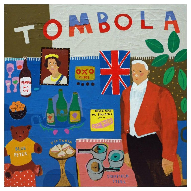 Great British Prizes Tombola Portrait Painting By Alan Fears Pop