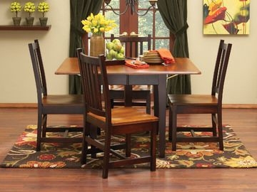 Amish Craftsmen Saber Drop Leaf Dining With Schoolhouse Chairs Hom Furniture Furniture
