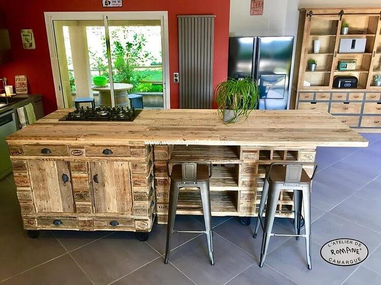 The First Image Of The Wood Pallet Kitchen Island Table Designing Will Show You Out Pallet Kitchen Island Kitchen Island Furniture Wooden Pallet Kitchen Ideas