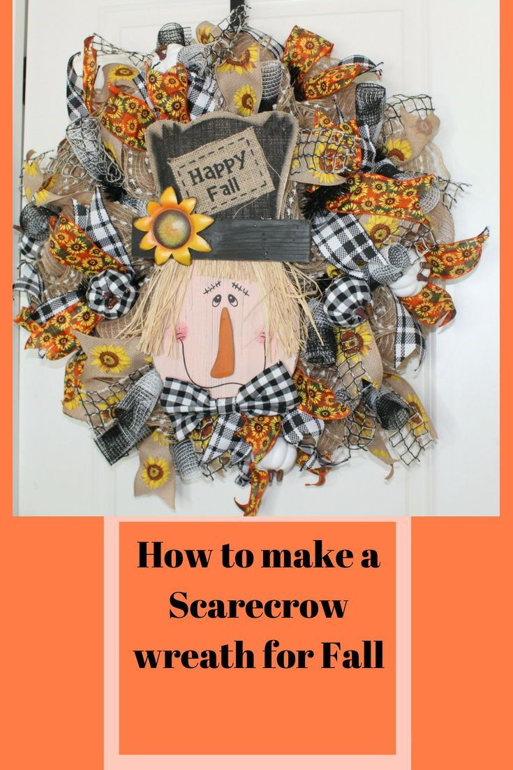 How to make a poof ruffle with curl deco mesh Scarecrow fall wreath #scarecrowwreath