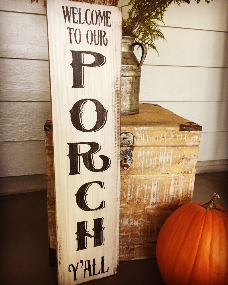 Large Wooden Signs Home Decor: Details About Welcome To Our Porch Y'all, Welcome Sign