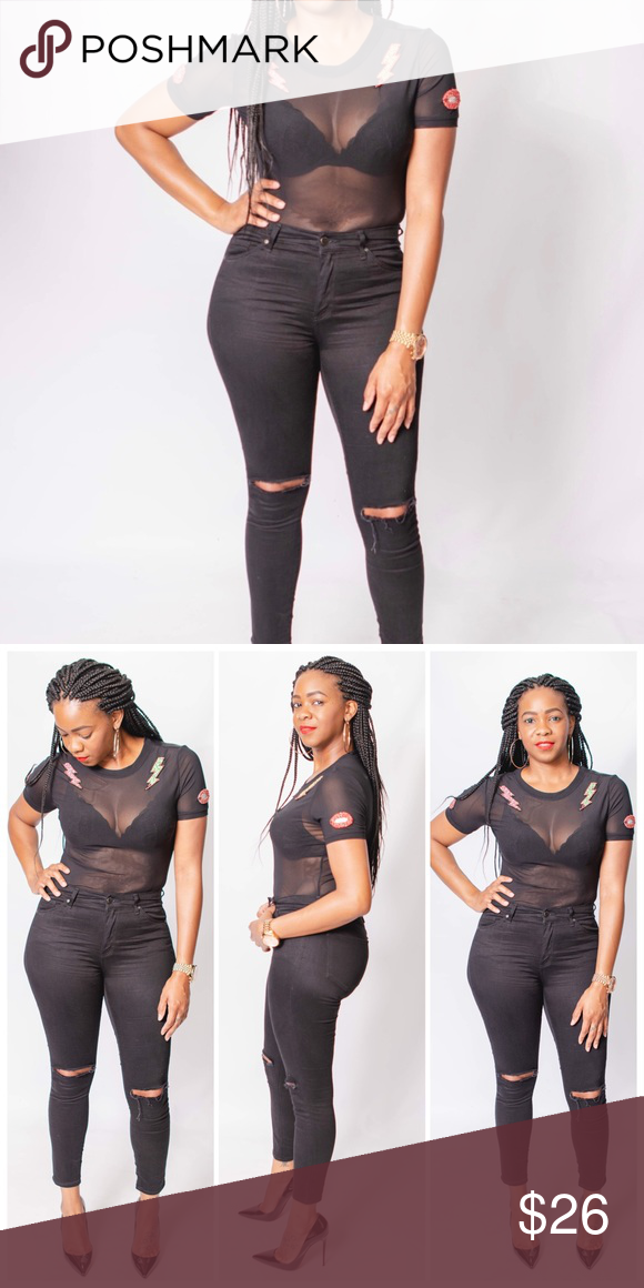 e0fccc71fe21 Black mesh bodysuit Black mesh bodysuit with short sleeves and double snap  button closure green and. Visit. March 2019