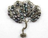 Black Fresh Water Pearl Swirlie Wire Tree Pendant