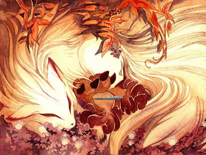 Ninetailed / Ninetails Fox Kitsune with Kits by storyofthedoor, $15.00