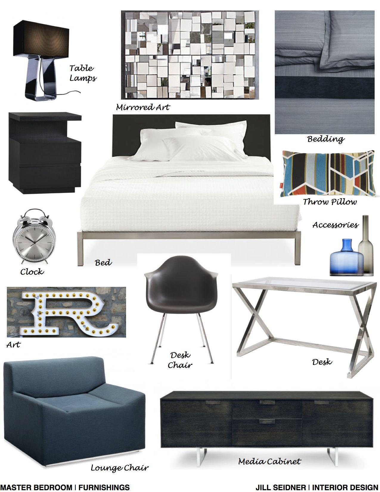North Hollywood Ca Residence Master Bedroom Furnishings Concept Board Www Jsinteriordes Interior Design Boards Interior Design Mood Board Bedroom Furnishings