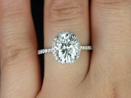 3ct Oval Forever One Moissanite Diamond Dainty Pave Halo