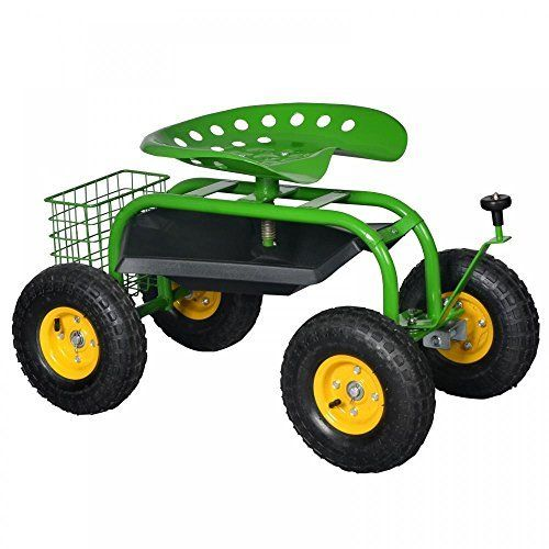 New Green Heavy Duty Gardening Planting Garden Cart Rolling Work