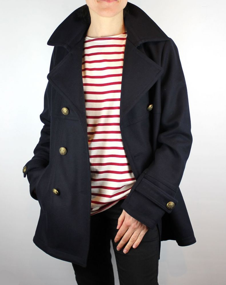 Women's Pea Coat/Reefer Jacket, Navy Blue Wool, Double Breasted ...