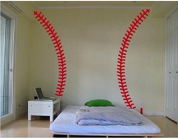 Baseball Wall Mural baseball wall decals | baseball stitches wall decal, baseball