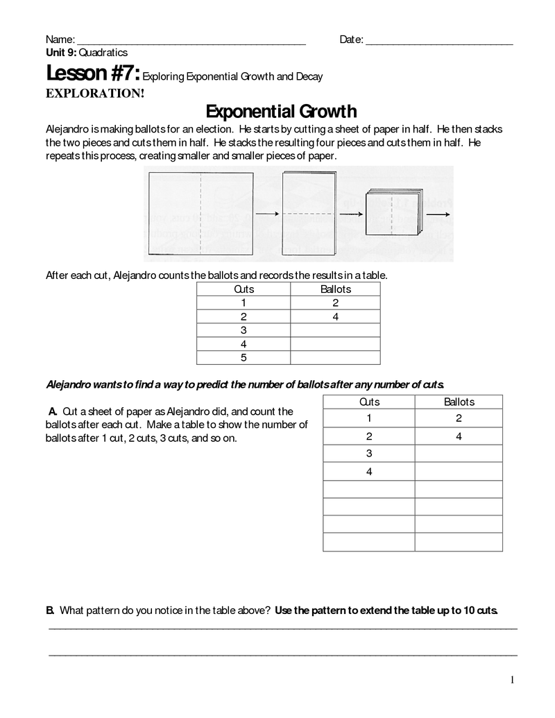 Worksheet Exponential Growth And Decay Problems Worksheet With