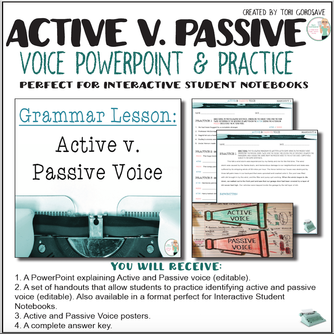 Grammar Lesson: Active & Passive Voice (PowerPoint, Handouts, Interactive  Notebook ready) This beautiful PowerPoint and set of handouts are a  comprehensive ...