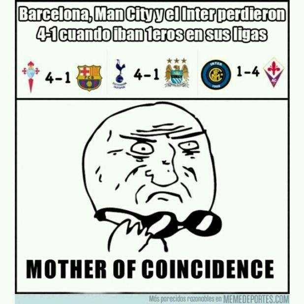 Una extraña coincidencia #1eros #4-1 #barça #coincidencia #inter #manchestercity