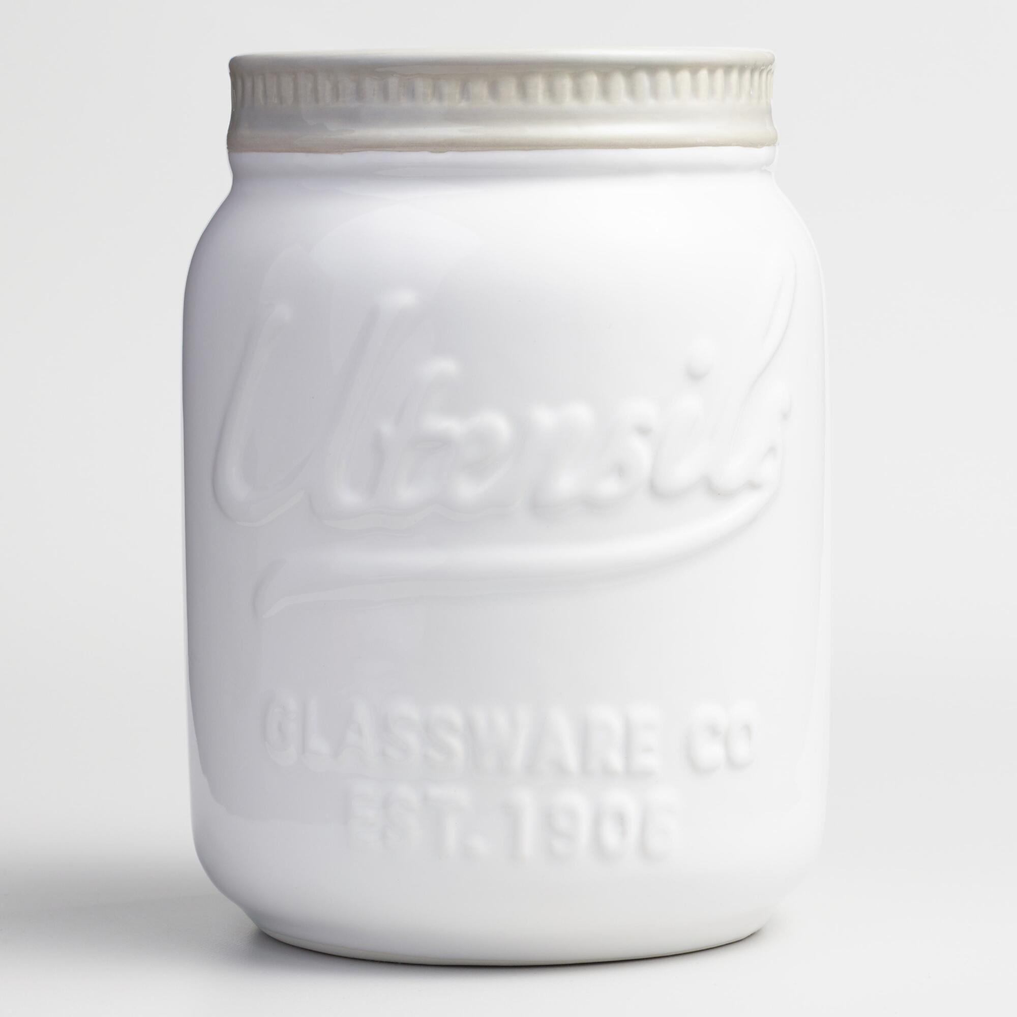 White Kitchen Jars white mason jar ceramic utensil holder | vintage mason jars, white