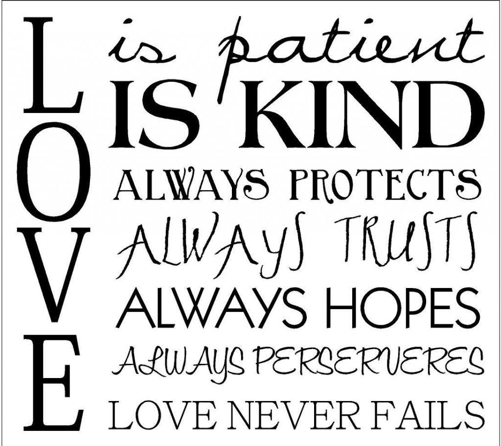 Love Is Patient Quote Love Is Patient Love Is Kind It Always Protects35.5Cm 14In