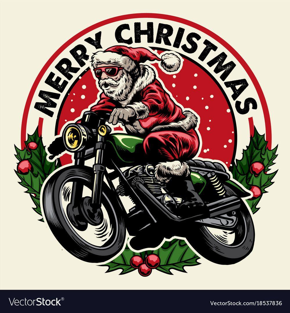 Santa claus riding motorcycle badge Royalty Free Vector