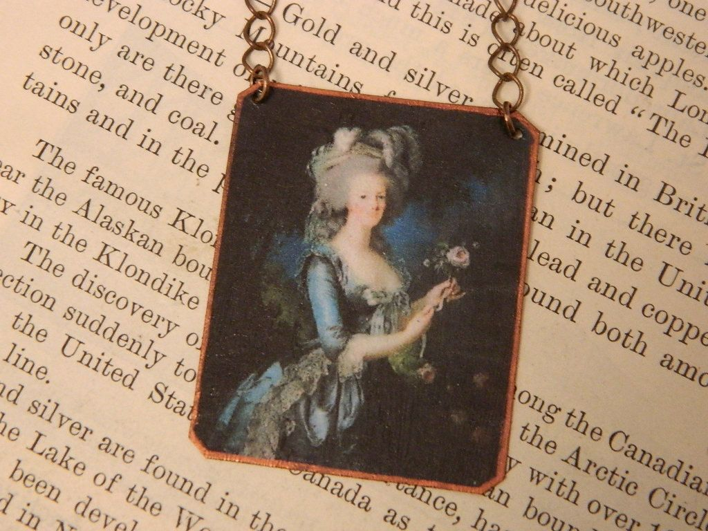 Queen necklace Queen jewelry Marie Antoinette mixed media jewelry by SarahWoodJewelry on Etsy