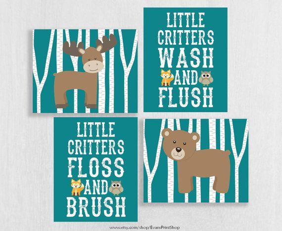canvas woodland bathroom decor woodland animals bathroom wash brush flossu2026