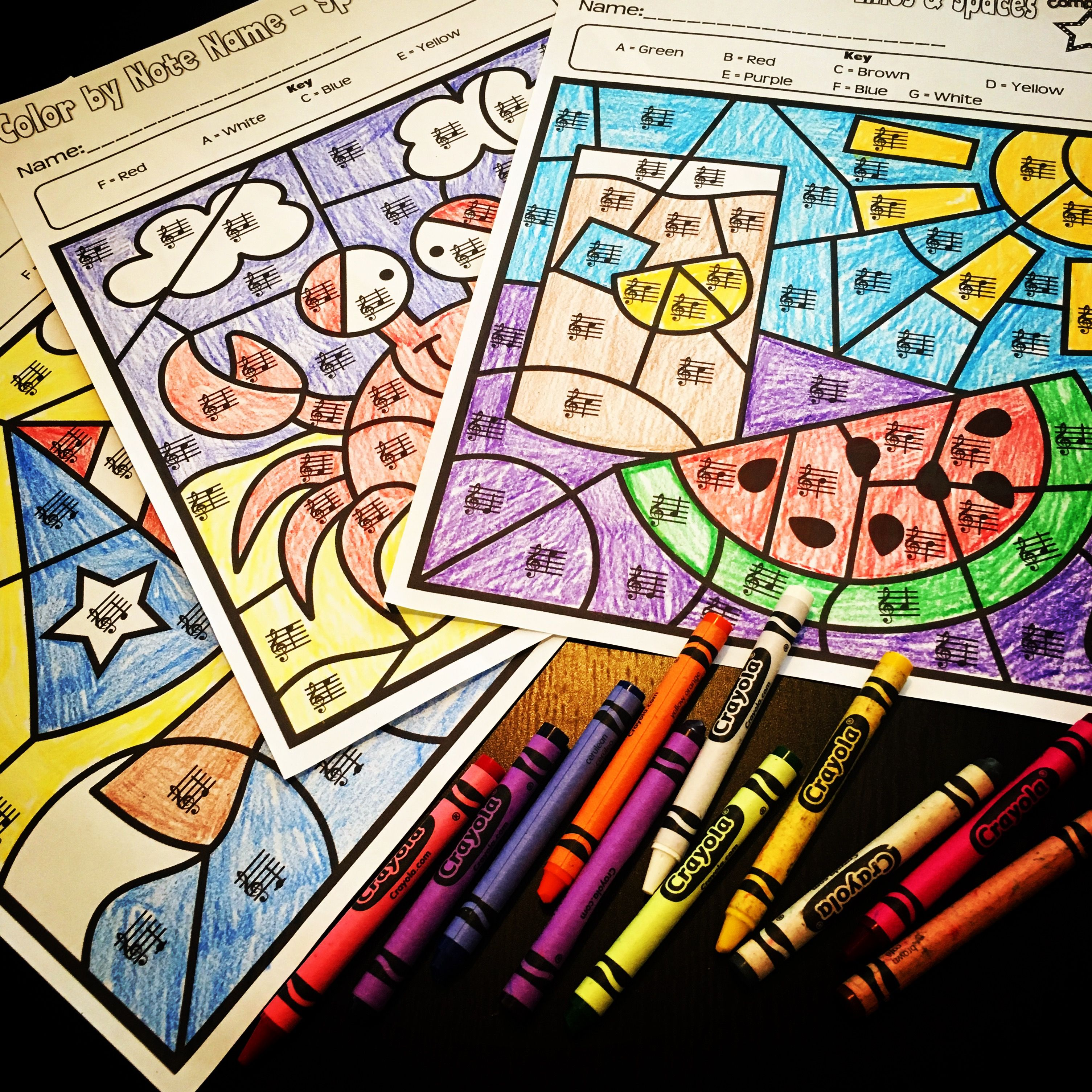 Summer Music Worksheets Color By Note Name
