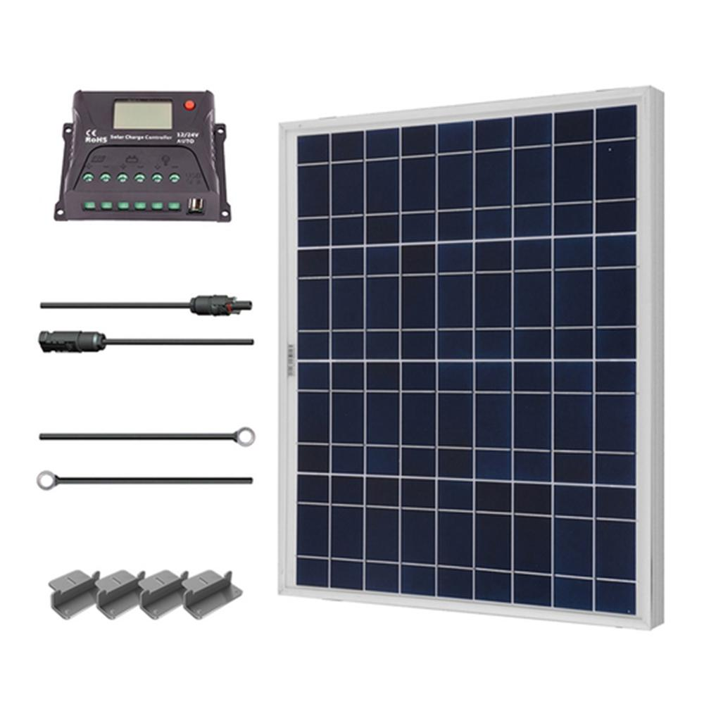 50 Watt 12 Volt Polycrystalline Solar Starter Kit For Off Grid Solar System 12v Solar Panel Solar Energy Panels Solar Kit