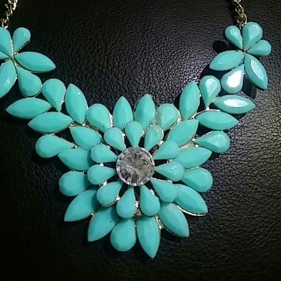 Teal statement necklace Beautiful statement necklace Jewelry Necklaces