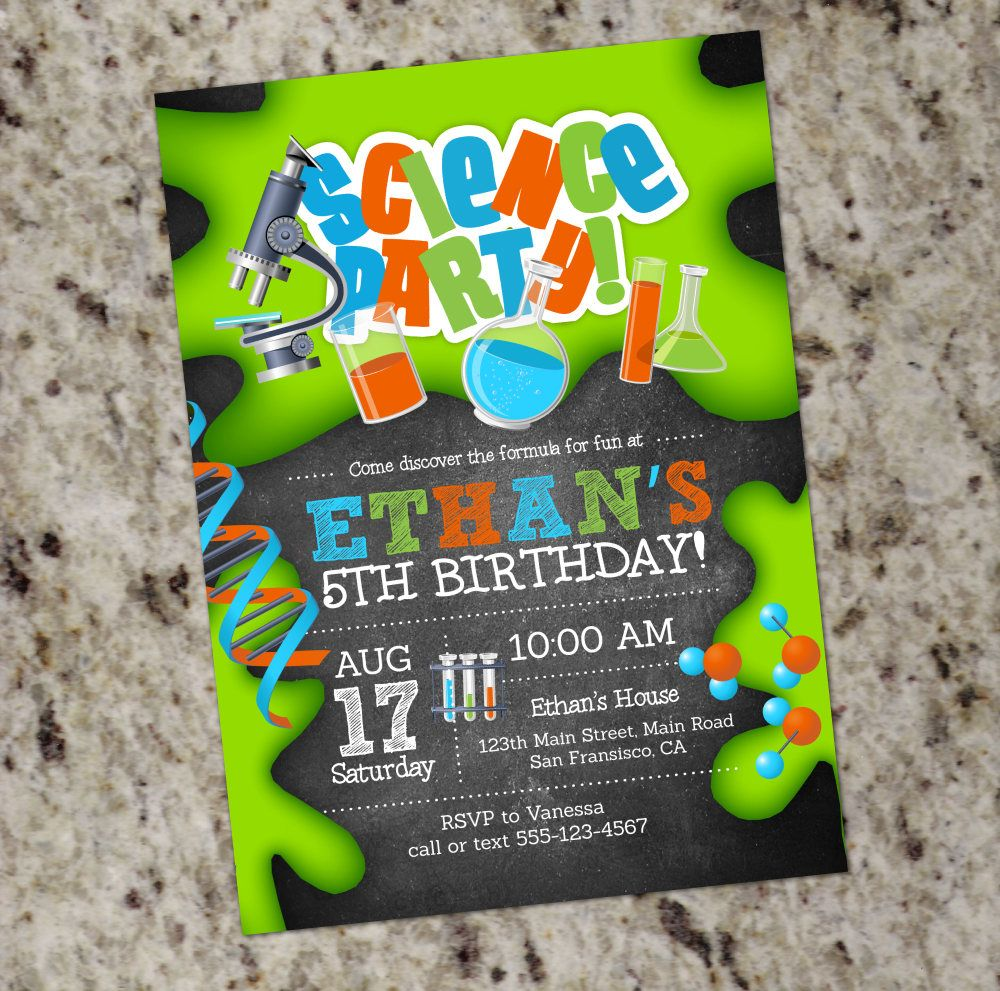 Science Birthday Party Invitations   Mad Scientist   Science Lab ...