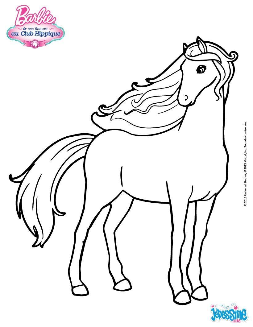 Un beau coloriage du cheval de Barbie  colorier € imprimer gratuitement ou colorier en