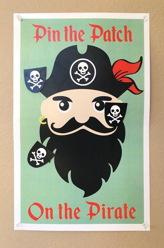 Photo of SOFORTIGER DOWNLOAD – Pin the Patch auf dem Piraten-Geburtstagsfeier-Spiel. Ein Blackbeard-Pirat mit lustigem Roger-Schädel und gekreuzten Augenklappen.
