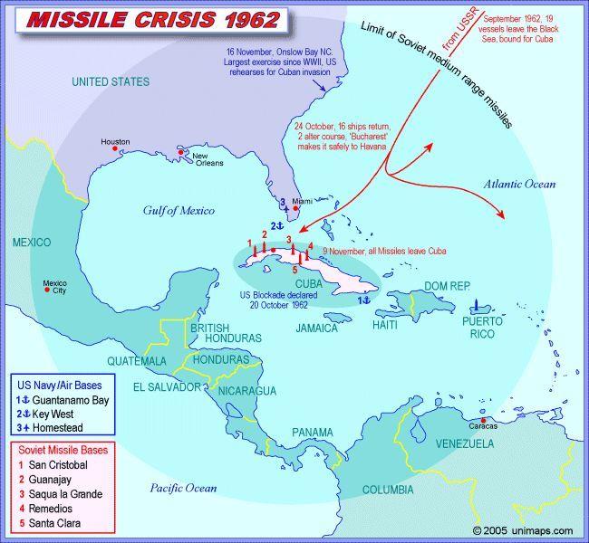 Cuban Missile Crisis Map Cuban Missile Crisis Pinterest