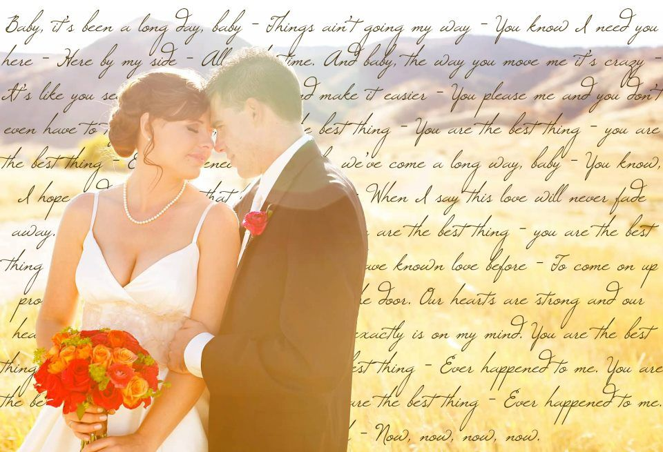 Song lyrics or wedding vows on a picture...printed onto a large canvas