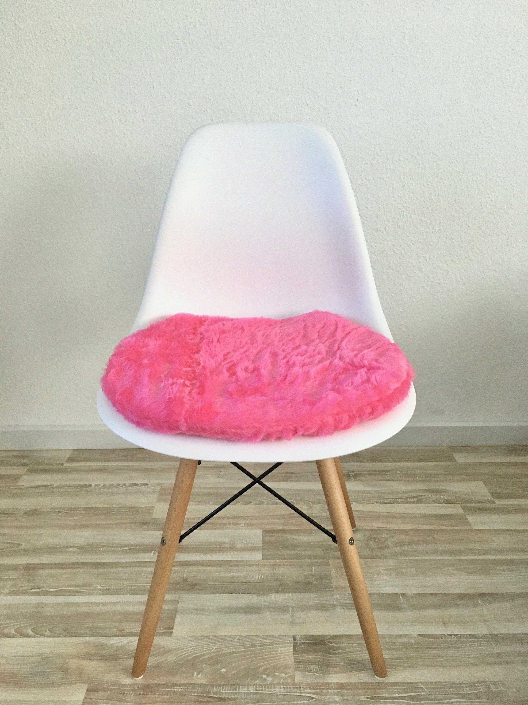 Seat Cushion In Pink For Eames Chair Longhair Plush Seat Cushion Fur Imitation Pink Eames Pad Upholstered Faux Fur Seat Cushion Chair Diy Chair Eames Chair
