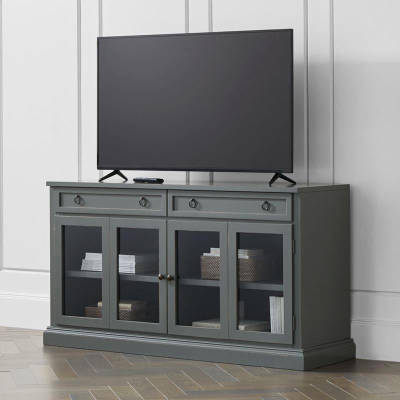 Cameo 62 Grey Modular Media Console With Glass Doors Reviews Crate And Barrel In 2020 Tv Console Table Media Console Glass Cabinet Doors
