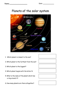 Simple Planets Worksheet Teaching Resources Worksheets Planets Teaching Resources