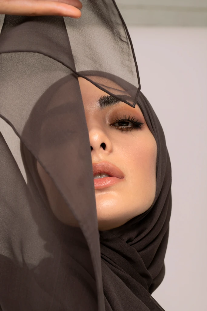 Charcoal Silk Georgette Hijab