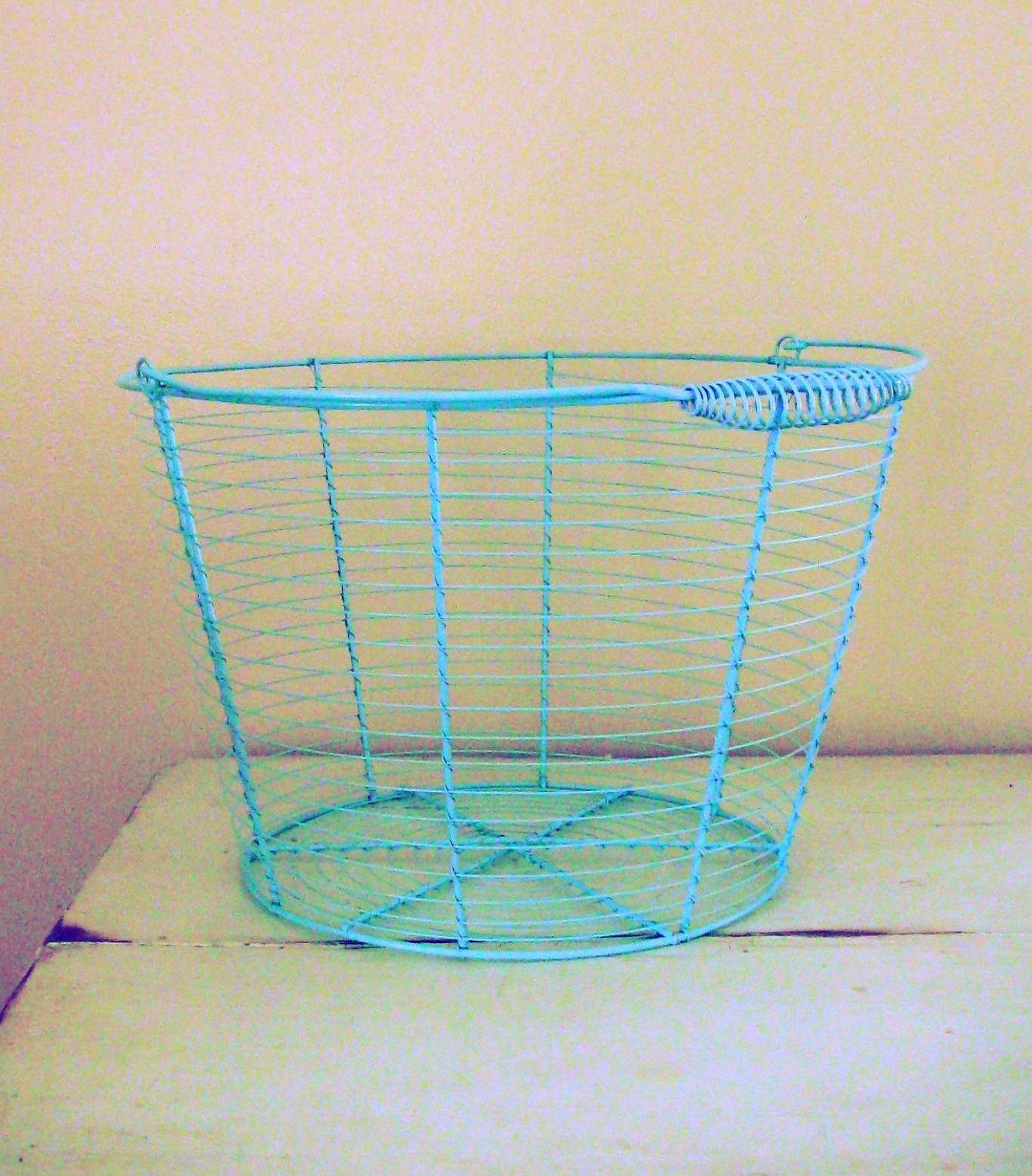Wire egg basket- turquoise, pink, cream, teal, lime- choose a color ...