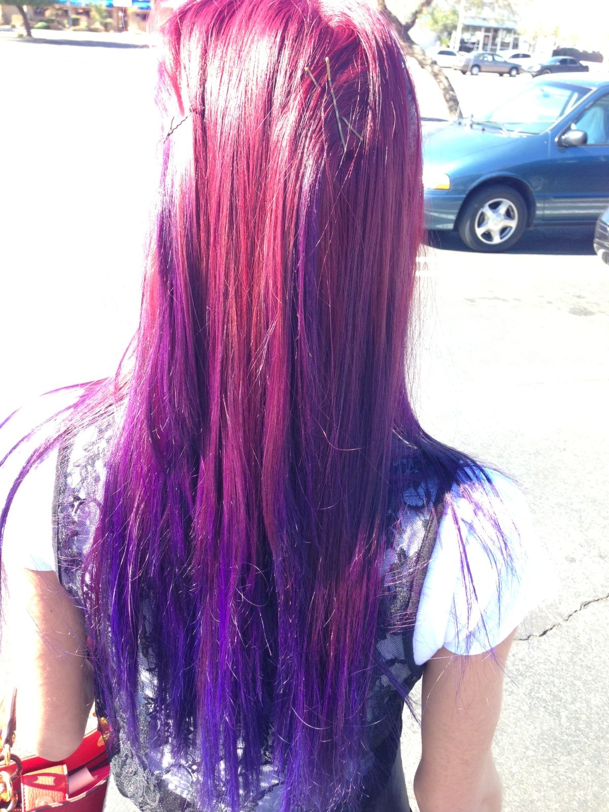 ombre red purple and blue purple hair pinterest