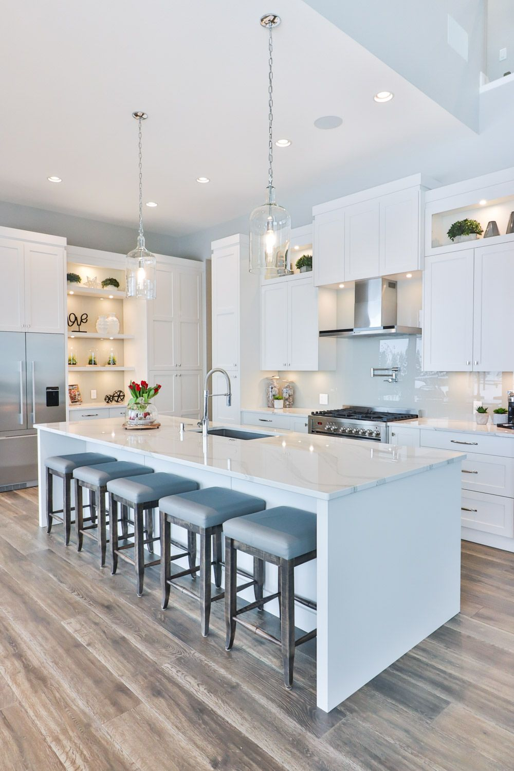 White Transitional Kitchen With Shaker Cabinets White Quartz Countertops Stainless Applianc White Shaker Kitchen Cabinets White Shaker Kitchen Kitchen Design